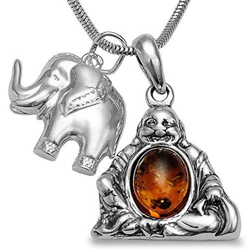 925 silber halskette bernstein elefant happy buddha amulett elefanten anh nger ketten. Black Bedroom Furniture Sets. Home Design Ideas