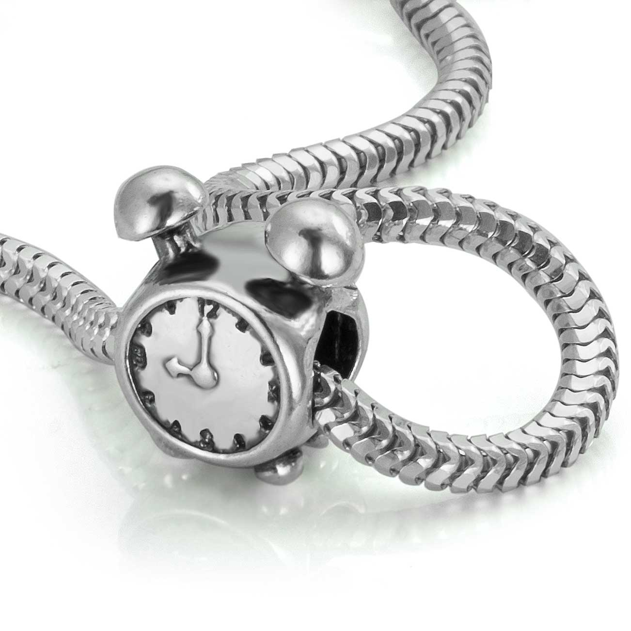 Alarm Clock And Clock Silver Bead 925er For Bracelets