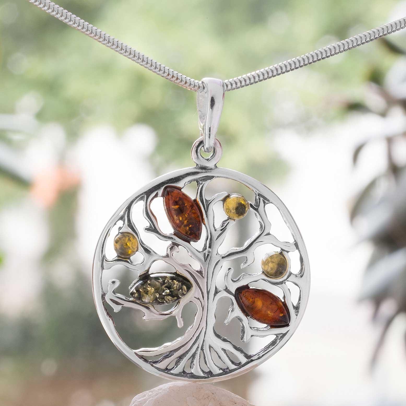 Bernstein Amulett Lebensbaum aus Sterling Silber ... 83e596c72b
