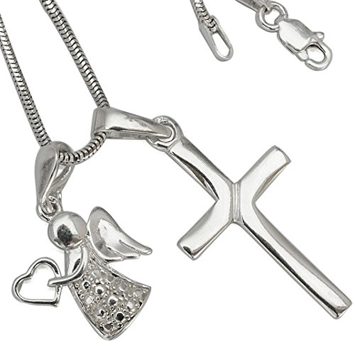 Angel Wings Heart Cross Pendant Chain Real Silver Necklace 45cm