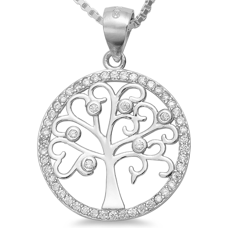 925 Silber Lebensbaum Kette   Kettenanhänger Baum Zirkonia rhodiniert –  Damen Schmuck Amulett Collier 40 45 50 55cm – Weltenbaum mit Venezianer  Kette  1721 ... 87ea939814