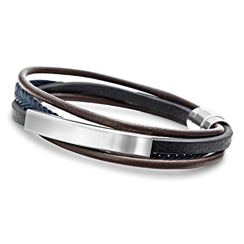 Neupreis lebendig und großartig im Stil suche nach original Leder Wickelarmband Herren Lederarmband Edelstahl Armband Magnetverschluss  #2141