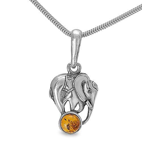 Bernstein Elefanten Anhänger Elefant Echt 925 Silber