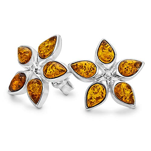 32fea09b0ed21 Design Lucky Charm Amber Ear Studs 925 Sterling Silver Shamrock #1273
