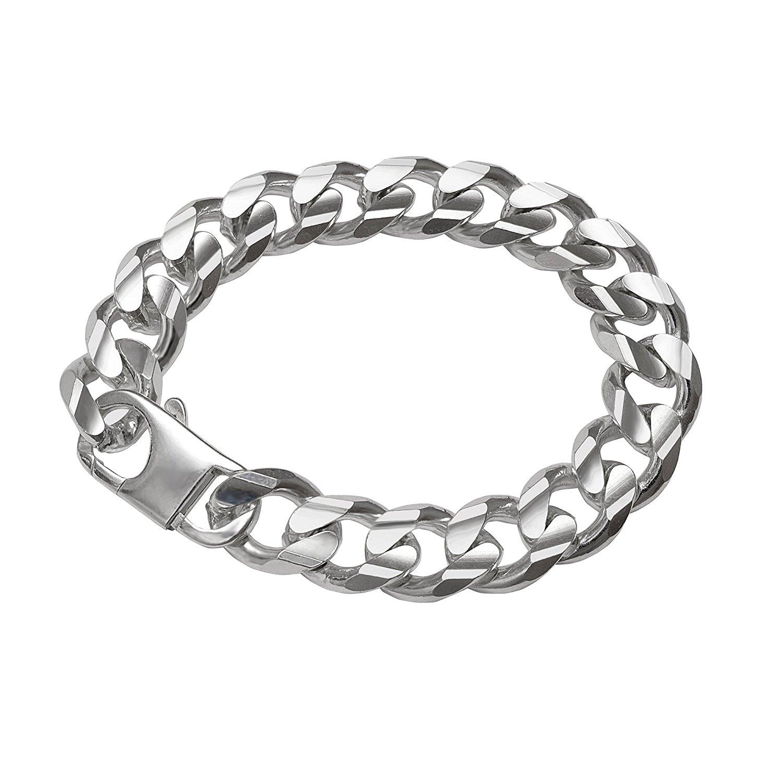 Ladies Mens Bracelet Diamond Rhodium Plated 925 Sterling Silver 22