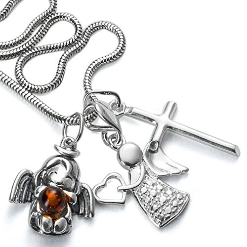 Four Piece 925er Silver Set Angel Amber Silver Cross Pendant + ... 6f787cacc8a24