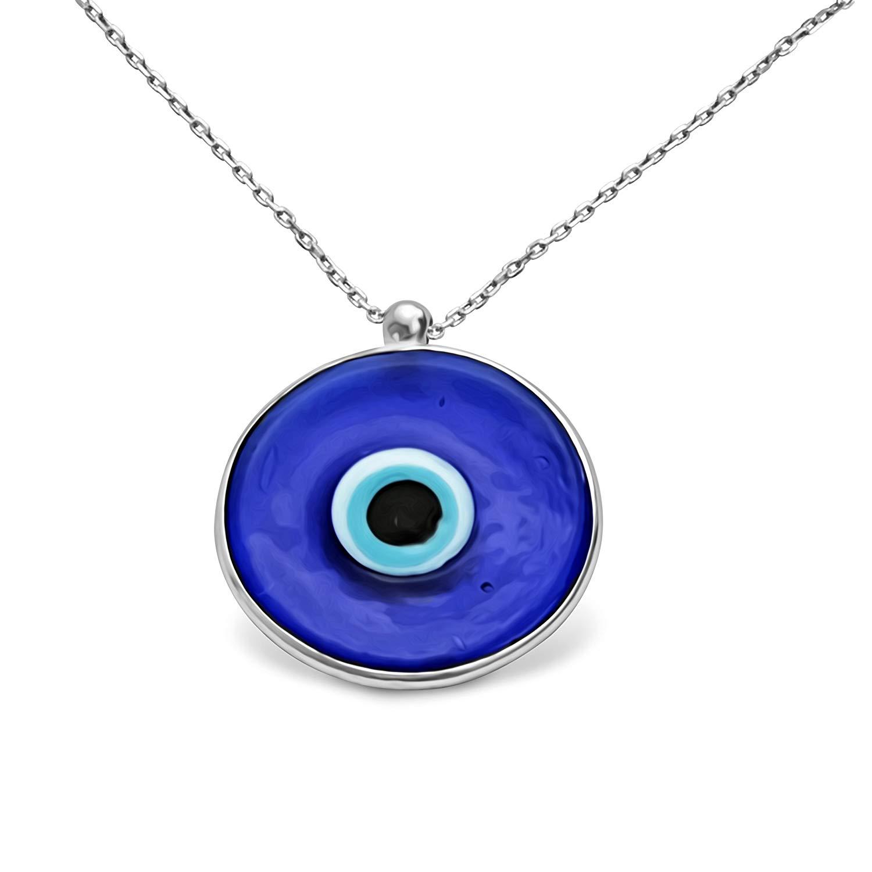 Orientalische Halskette Blaues Auge Türkisch Nazar Hochwertiges Sterlingsilber 18k Vergoldet 1883