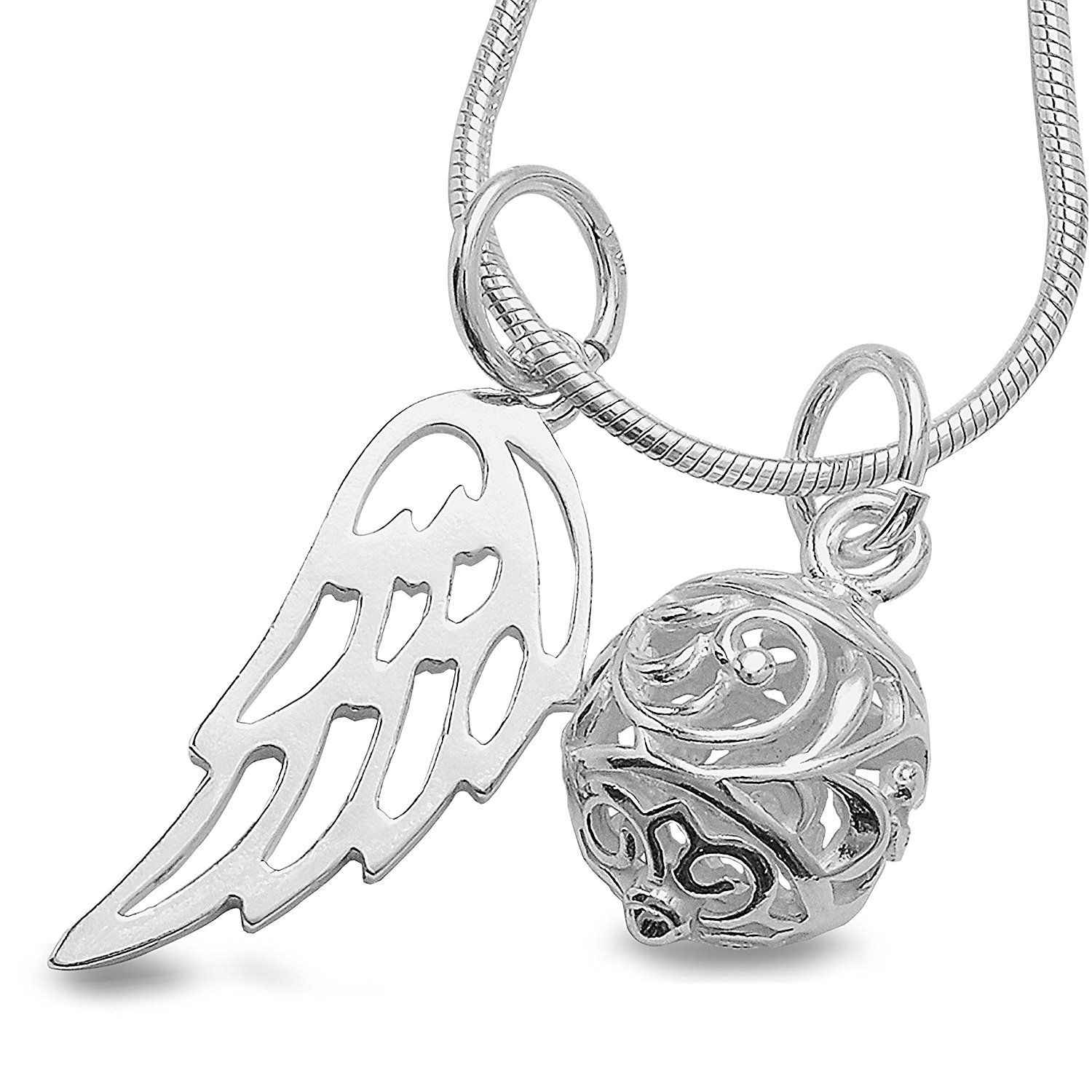 Angel Dream Ball Chain Angel Wing Pendant 3 Piece Set Necklace