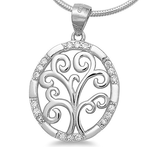 6024983fc5e11 925 silver women's necklace & amp; Pendant Tree Zirconia Rhodium Plated -  Pendant Tree of Life Necklace 45 cm - World Tree with Venetian Chain #1697