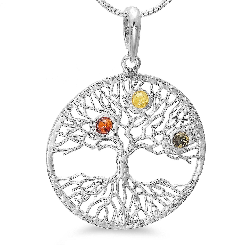 Großer keltischer Lebensbaum Schmuck Kettenanhänger Silber 925 mit Bernstein  4,3 cm, Amulett Baum des Lebens Weltbaum Tree of Life  b1291 df90cc3815