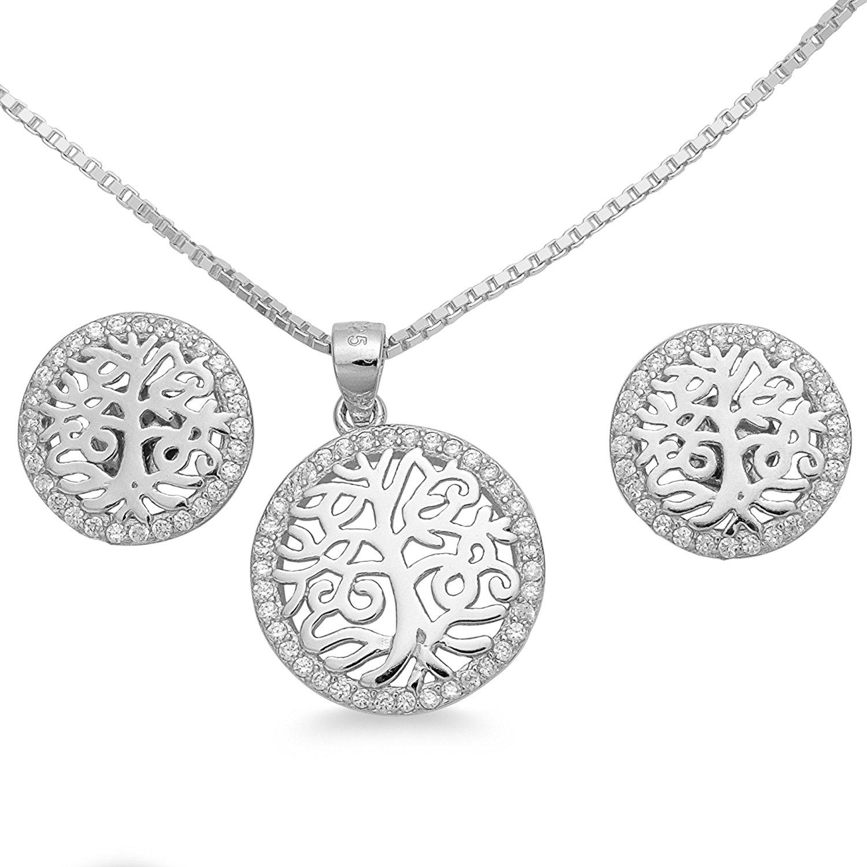 Schmuck Damen Halskette Anhänger Ohrstecker Lebensbaum Set 925 Silber mit  Zirkonia Venezianer Collier Kette 40 45 50 55cm – Geschenkbox  1714 (50) 299eca71e2
