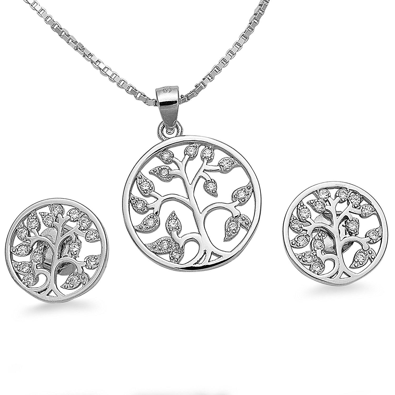 Schmuckset Halskette Anhänger Ohrstecker Lebensbaum 925 Silber Zirkonia + Geschenkbox #1713